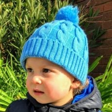 Winter Blue Cable Knitted Hat